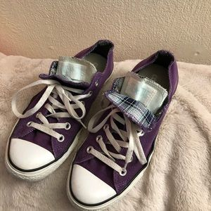 Purple & Teal Low Top Converse Shoes
